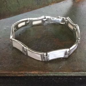 Sterling silver and mother of pearl bracelet